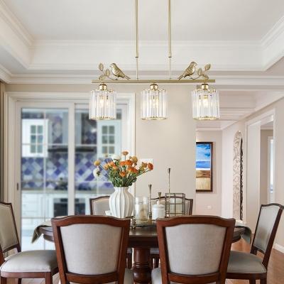 Gold Cylinder/Barrel/Double Cylinder/Bell Chandelier 3 Lights Vintage Clear Crystal Pendant Light for Dining Room