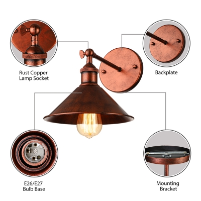 8'' H Antique Copper 1 Light Indoor LED Wall Lamp