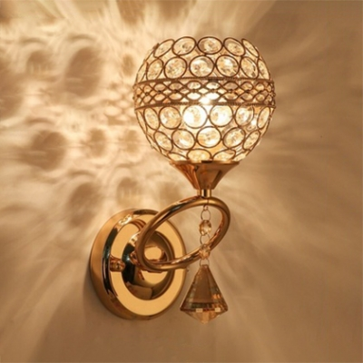 Antique Style Globe Wall Lighting Clear Crystal 1 Light Brass Sconce Light for Bathroom