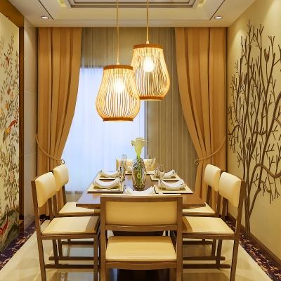 Asian Gourd Pendant Lighting Single Light Woven Hanging Lamp in Beige for Patio
