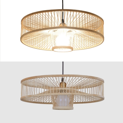 Beige Drum Pendant Lighting Single Light Asian Handmade Bamboo