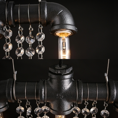Black Pipe Ceiling Pendant Light with Clear Crystal Decoration 3-Light Rustic Hanging Light