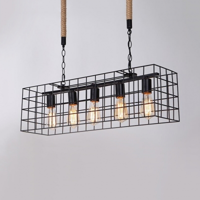 Cage Height Adjustable Island Lighting Dining Room 5 Lights Industrial Island Pendants with 25.5