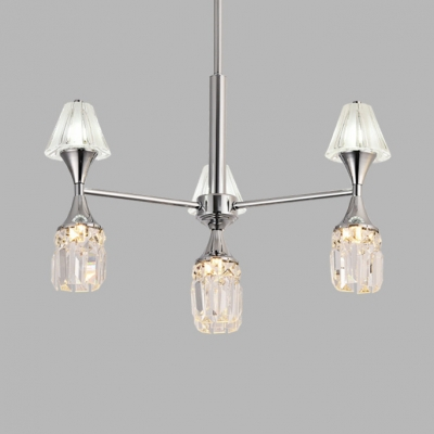 Chrome Tapered Chandelier 4/6 Lights Contemporary Clear Crystal Hanging Light for Bedroom
