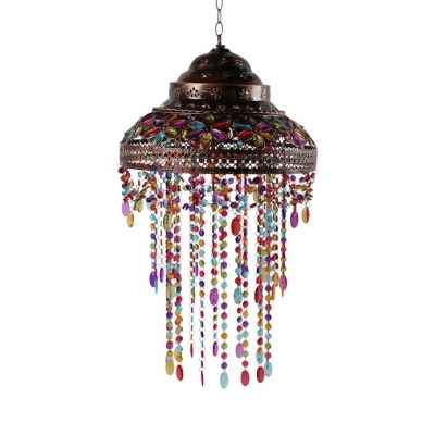 Double Bubble Hanging Light Living Room Single Light Vintage Pendant Lamp with Colorful Crystal