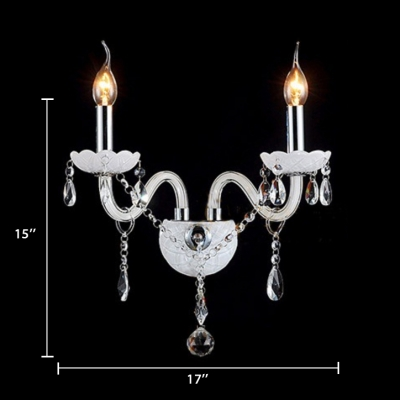 House Wall Mount Light Fixture with Clear Crystal Vintage Style Black Sconce Lighting