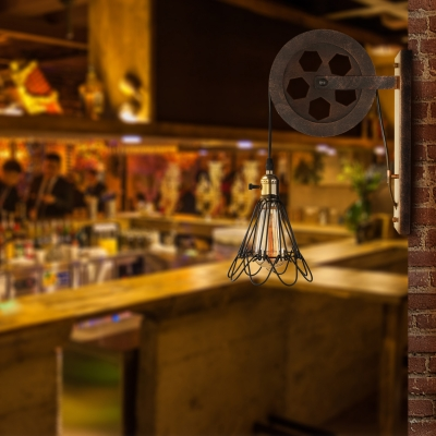 Industrial Pulley Single Wall Sconce with Wired Guard for Restaurant Warehouse Pathway