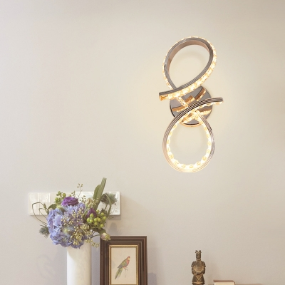 Modern Chrome Wall Sconce Curved Metal Sconce with Clear Crystal Bead for Hallway
