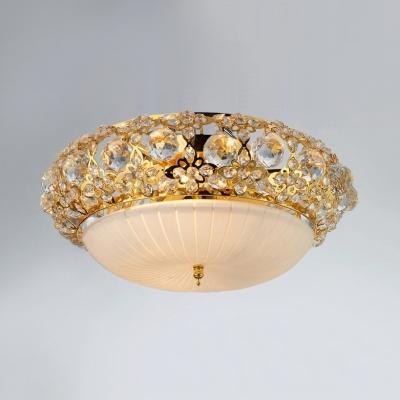 Modern Dome Flush Mount Light Metal 3/4/5 Lights Gold/Silver Ceiling Fixture for Bedroom