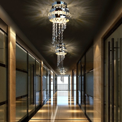 Modern Round Canopy Ceiling Light Clear Crystal 1 Light Chrome Chandelier for Dining Room