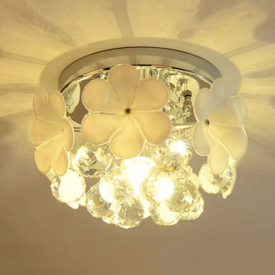 One Light Semi Flush Mount Lighting Contemporary Style Ceiling Light Fixture with Clear Crystal and Flower Decoration