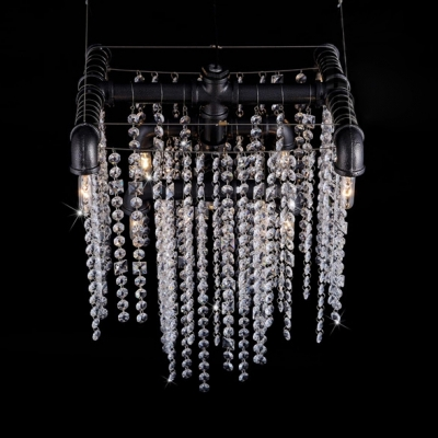 Open Bulb Ceiling Pendant Light with Clear Crystal Strands 9 Lights Modernism Suspended Light in Black