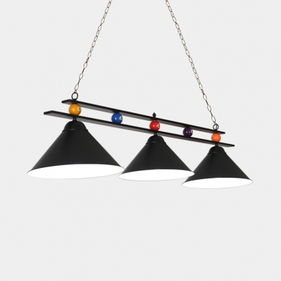 Pool Table Conical Island Light Metal Rustic Black/Red/Blue/Green Island Pendant with Adjustable Chain