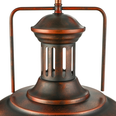 Rust Single Light Bowl Pendant Light in Wrought Iron for Warehouse Pool Table