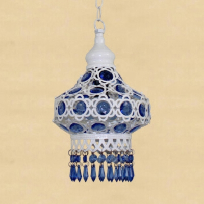 Traditional Lantern Ceiling Light Single Light Metal Pendant Lamp with Blue/Multi-Color Crystal Decoration