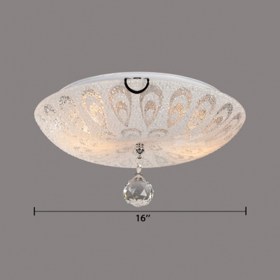 White Glass Dome Flush Mount 2/3/5 Lights Vintage Style Ceiling Lighting with Clear Crystal Decoration for Bedroom