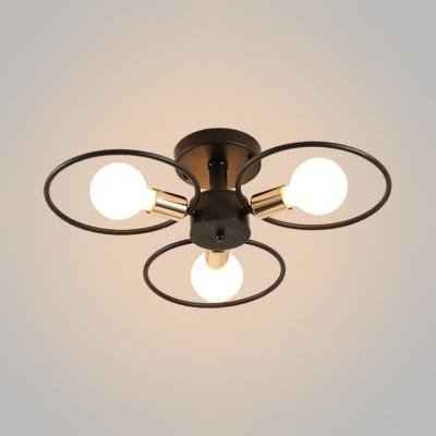 3/6 Light Open Bulb Ceiling Light with Ring Metal Industrial Semi Flush Light in Brass HL514221 фото