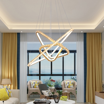 3 Lights Clear Crystal Chandelier Modern Metal Pendant Lighting Fixture in Gold/Silver