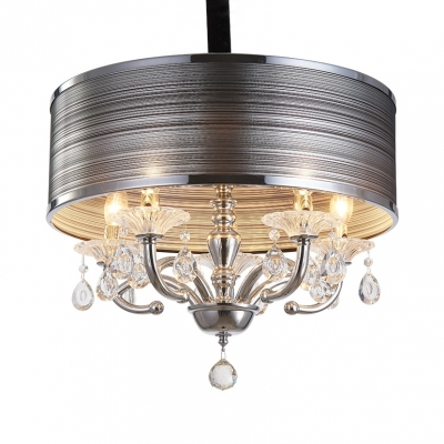 5 Lights Drum Pendant Lighting with Clear Crystal Decoration Modern Style Fabric Flush Light