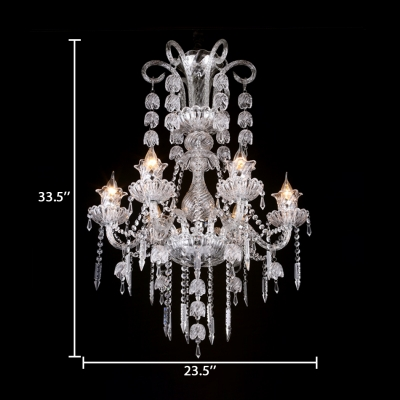 Candle Bedroom Chandelier with Adjustable Cord Clear Crystal 6 Lights Antique Hanging Pendant