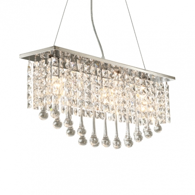 Rectangle Clear Crystal Pendant Light 5 Lights Modern Hanging Chandelier in Chrome