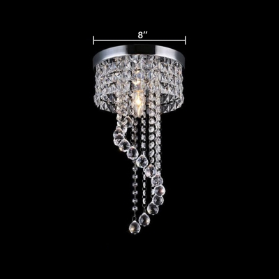 Bedroom Round Canopy Flush Mount Light Clear Crystal Modern Polished Chrome Chandelier