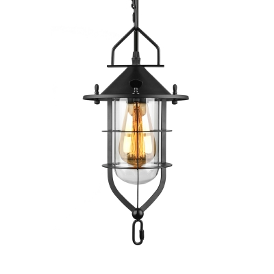Black/Rust Finished LED Mini Lantern Pendant with Outer Cage