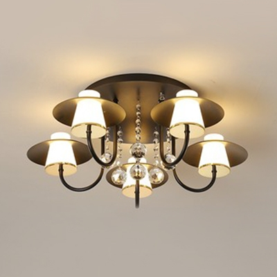 Black/White Tapered Semi Flush Light with Crystal Traditional Acrylic LED Semi Ceiling Fixture for Dining Room