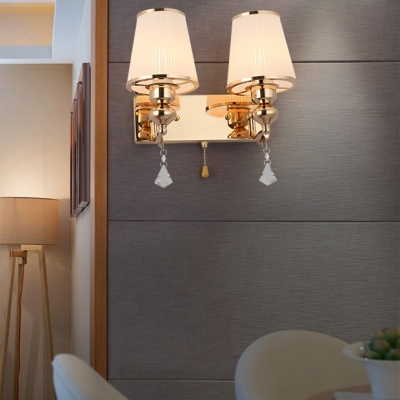 Bucket Sconce Light with Clear Crystal for Bedroom 1/2 Lights Antique Style Frosted Glass Wall Mounted Lighting