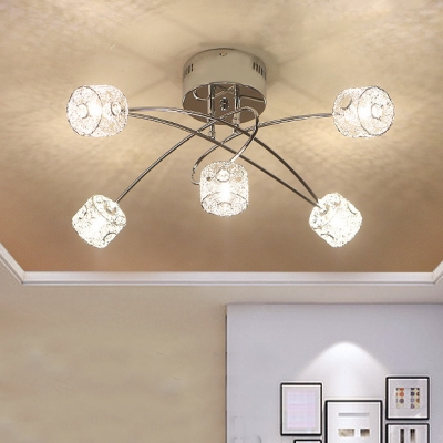 Clear Crystal Ceiling Lamp with Drum Shade 5 Lights Contemporary Semi Flush Light in Chrome