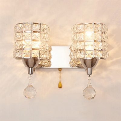 Clear Crystal Cylinder Wall Mounted Lighting 2 Lights Modern Style