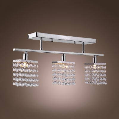 Clear Crystal Rectangle Semi Flush Mount Lighting 3Light Contemporary Style Ceiling Light for