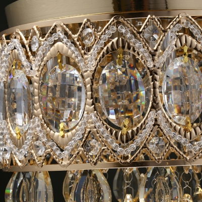 Clear Gold/Silver Crystal Round Canopy Ceiling Light 4 Lights Modern Chandelier with 12