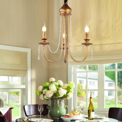 Colonial Antique Brass Chandelier with Candle 3/6/9 Lights Metal Pendant Light for Dining Room