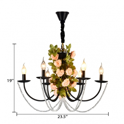 Colonial Candle Chandelier with Rose and Crystal Multi Light Suspended Light in Black with 19.5