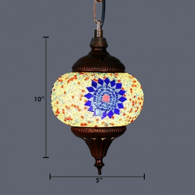 Colorful Orb Hanging Lamp Bedroom Single Light Moroccan Glass Pendant Light Fixture