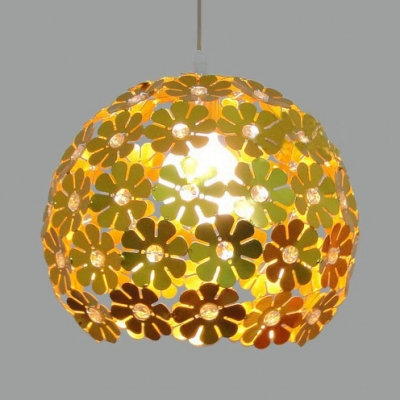 Contemporary Globe Pendant Light 1 Light Metal Hanging Lamp with Clear Crystal Bead in Gold/Silver