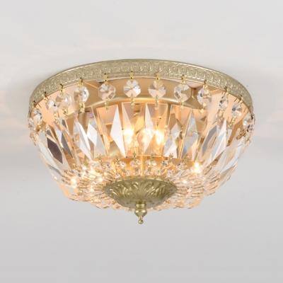 Dome Shape Bedroom Flush Mount Clear Crystal 3 Light Vintage Style