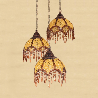 Domed Suspended Light 1/3 Lights Antique Yellow and Brown Crystal Hanging Lamp for Dinging Room