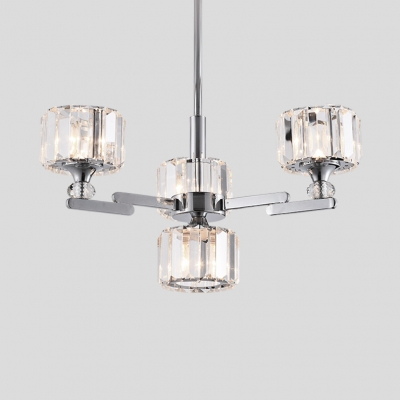 Drum Dining Room Pendant Light Clear Crystal 4/6 Lights Modern Hanging Chandelier in Chrome/Rose Gold