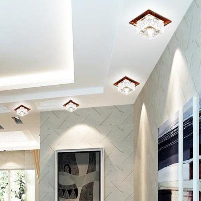 Living Room Square Flush Light Clear Crystal Modern White Flush Ceiling Lighting