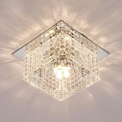 Modern Square Flush Mount Lighting Clear Crystal Ceiling Fixture in Chrome for Bedroom