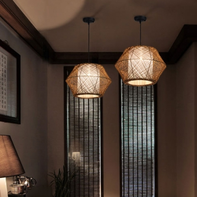 Single Light Rattan Asian Brown Ceiling
