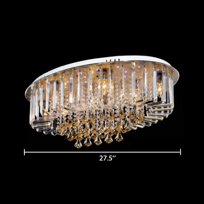 Oval Flush Mount Light Fixture 6/7/10 Lights Antique Style Clear and Amber Crystal Ceiling Lighting