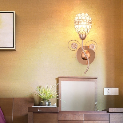 Oval Wall Mounted Light for Bathroom Modern Style Clear Crystal Sconce Lighting in Rose Gold