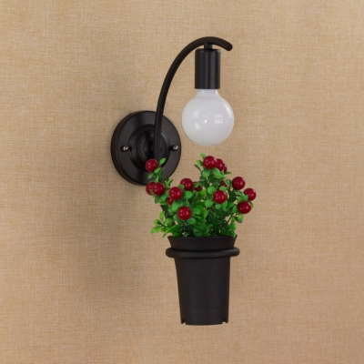 Single Light Sconce Light with Flower Basket Rustic Metal Wall Light Fixture in Black