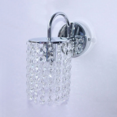 Single Light Sconce Lighting Antique Style Clear Crystal Wall Light Fixture in Chrome
