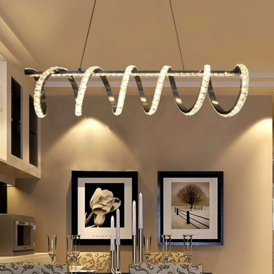 Spiral Hanging Chandelier Bedroom Contemporary Pendant Lamp with Clear Crystal Decoration in Chrome