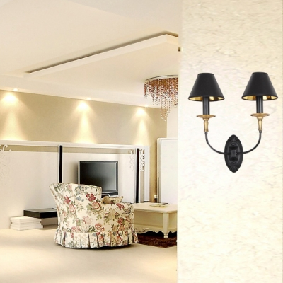 Traditional Flared Sconce Wall Light 1/2 Lights Metal Wall Lamp in Black for Living Room