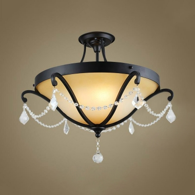 Vintage Bowl Flush Light/Semi-Flush Light 3/5 Lights Metal Ceiling Lamp with Clear Crystal in Black for Bedroom